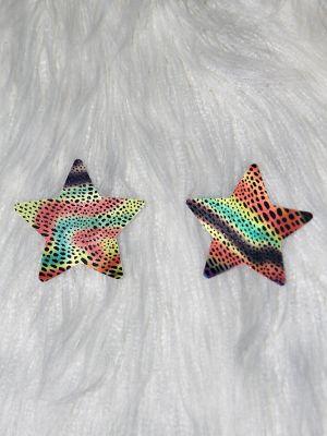 Rarr Designs Star Leopard Nipple Pasties Rainbow