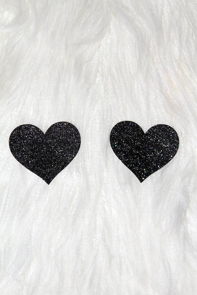 Rarr Designs Heart Glitter Nipple Pasties Black
