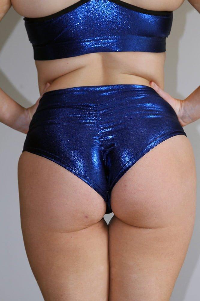 Rarr designs Navy Sparkle High Waisted BRAZIL Scrunchie Bum Shorts