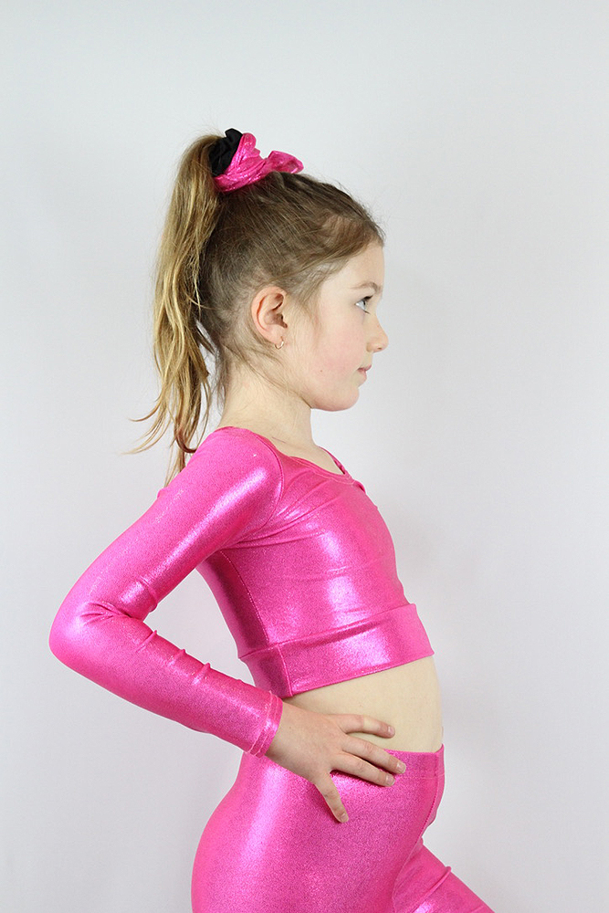 Pink Sparkle Long Sleeve Crop Top Youth Girls