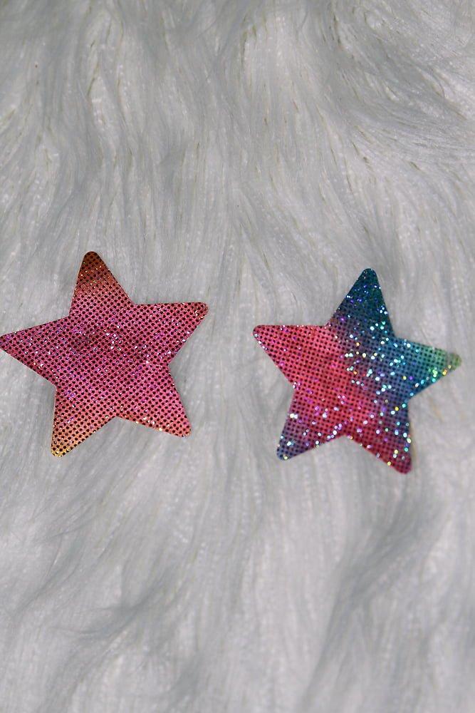 Rarr Designs Star Sparkle Nipple Pasties Rainbow