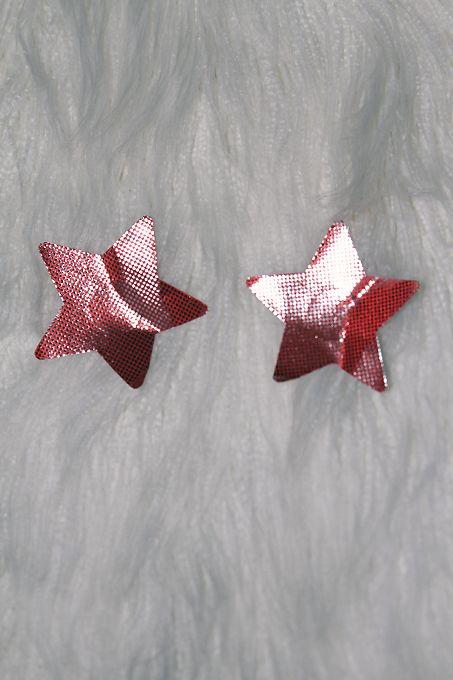 Rarr Designs Star Foil Nipple Pasties Red