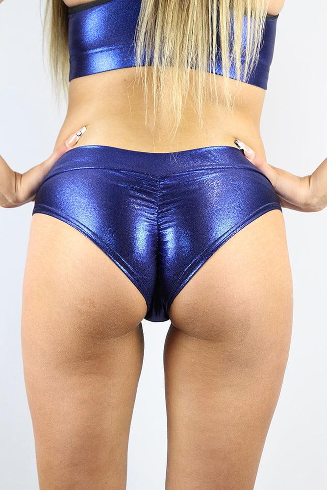 Rarr designs Navy Sparkle BRAZIL Fit Scrunchie Bum Shorts