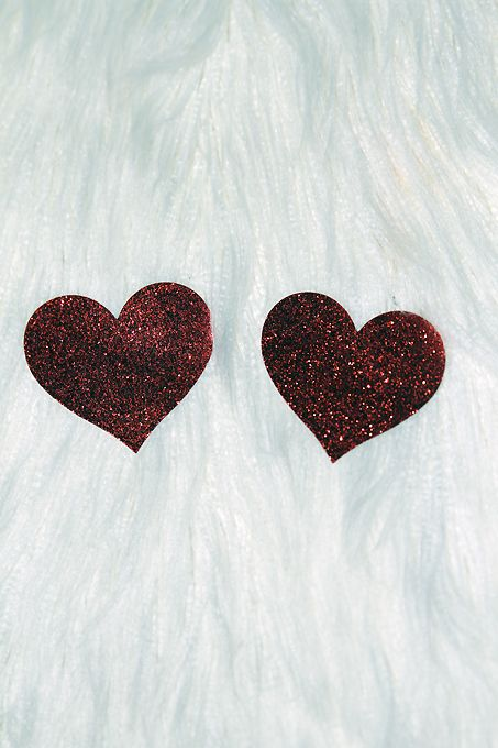 Rarr Designs Heart Glitter Nipple Pasties Red