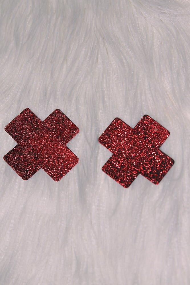 Rarr designs X Glitter Nipple Pasties Red