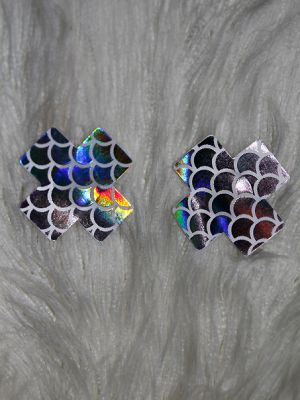 Rarr Designs X Fish scales Nipple Pasties Silver Rainbow