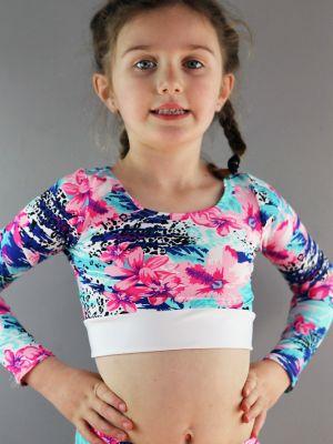 Hibiscus Long Sleeve Crop Top Youth Girls