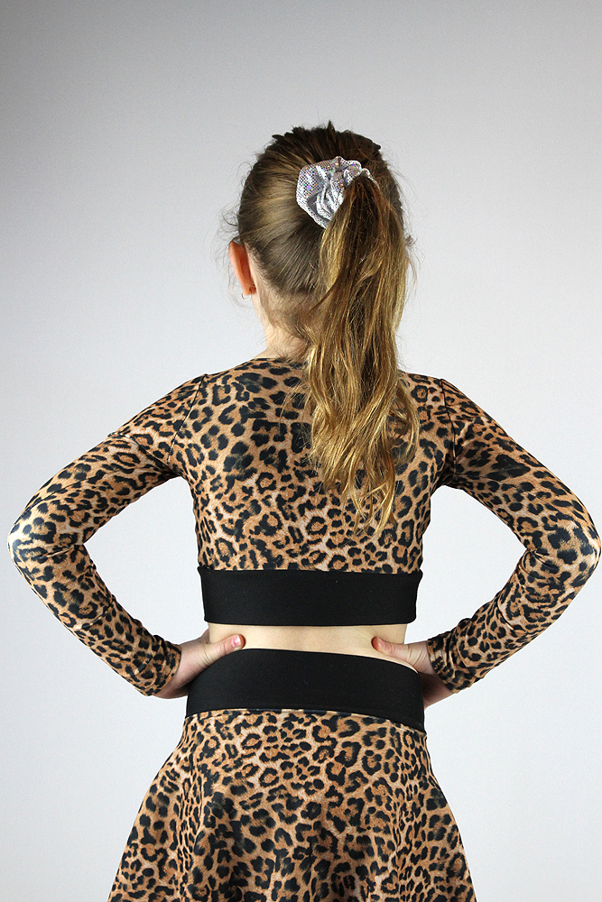 Animal Long Sleeve Crop Top Youth Girls