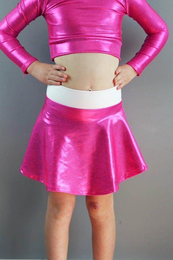 Pink Sparkle Skater Skirt Youth Girls