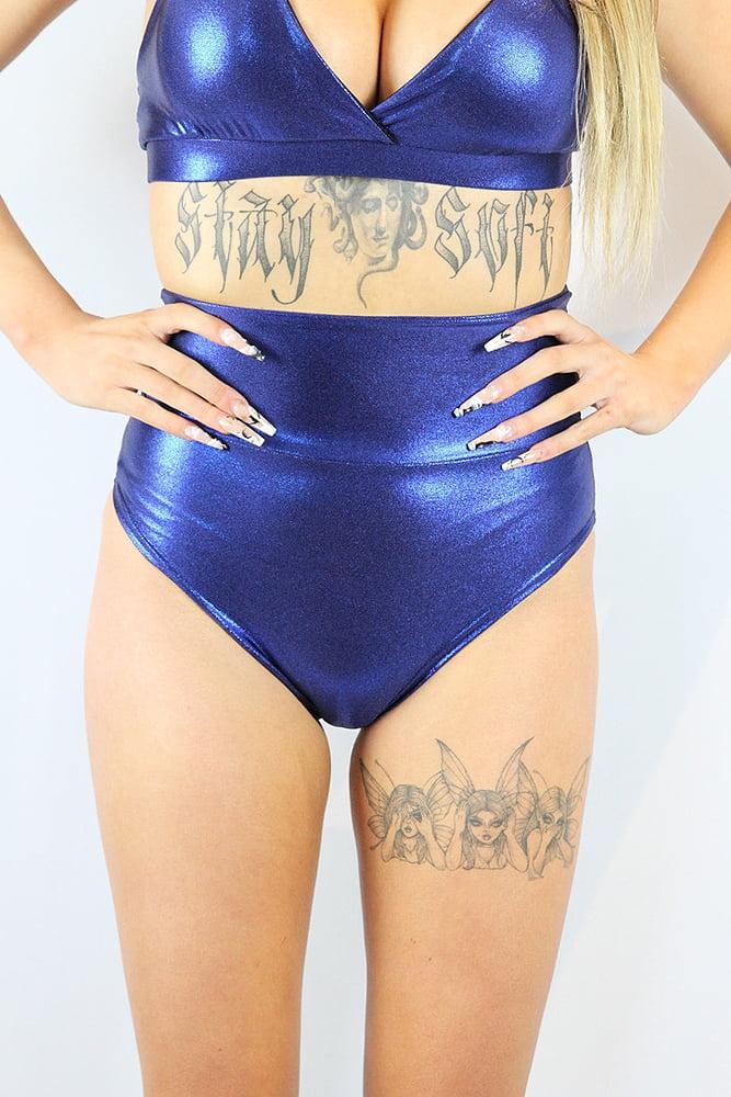 Rarr designs Navy Sparkle Super High Waisted BRAZIL Scrunchie Bum Shorts