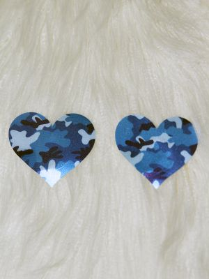 Rarr Designs Heart Nipple Pasties Blue Camo