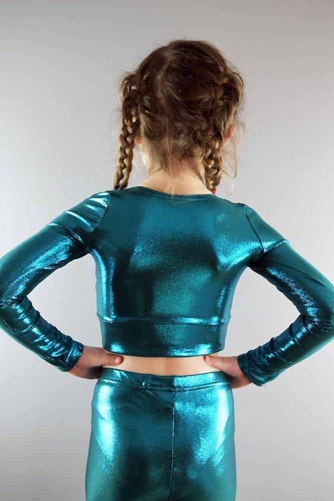 Jade Sparkle Long Sleeve Crop Top Youth Girls