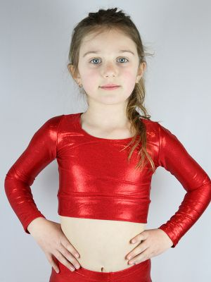 Red Sparkle Long Sleeve Crop Top Youth Girls