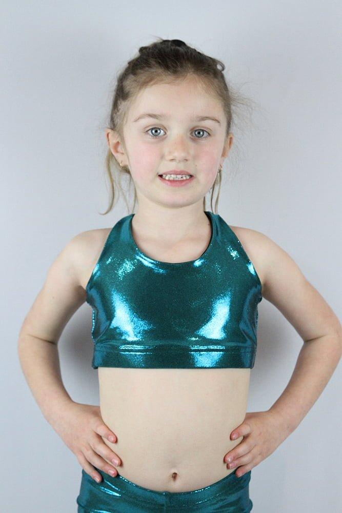 Jade Sparkle Crop Top Sports Bra Youth Girls