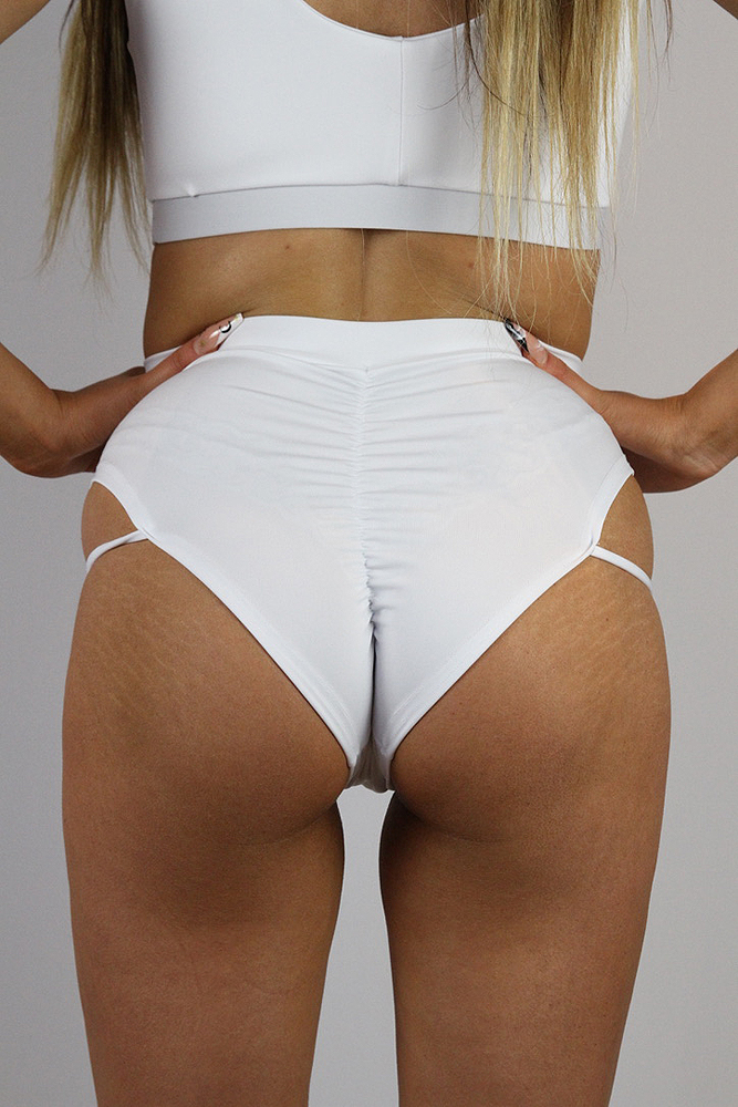 Rarr designs Matte White Strap High Cut BRAZIL Scrunchie Bum Shorts