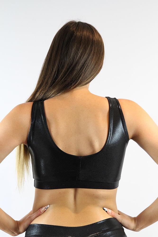 Rarr designs Black Sparkle Sweet Scoop Sports Bra