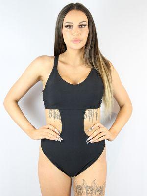 Rarr designs Matte Black Side Cut Out One Piece Leotard Bodysuit