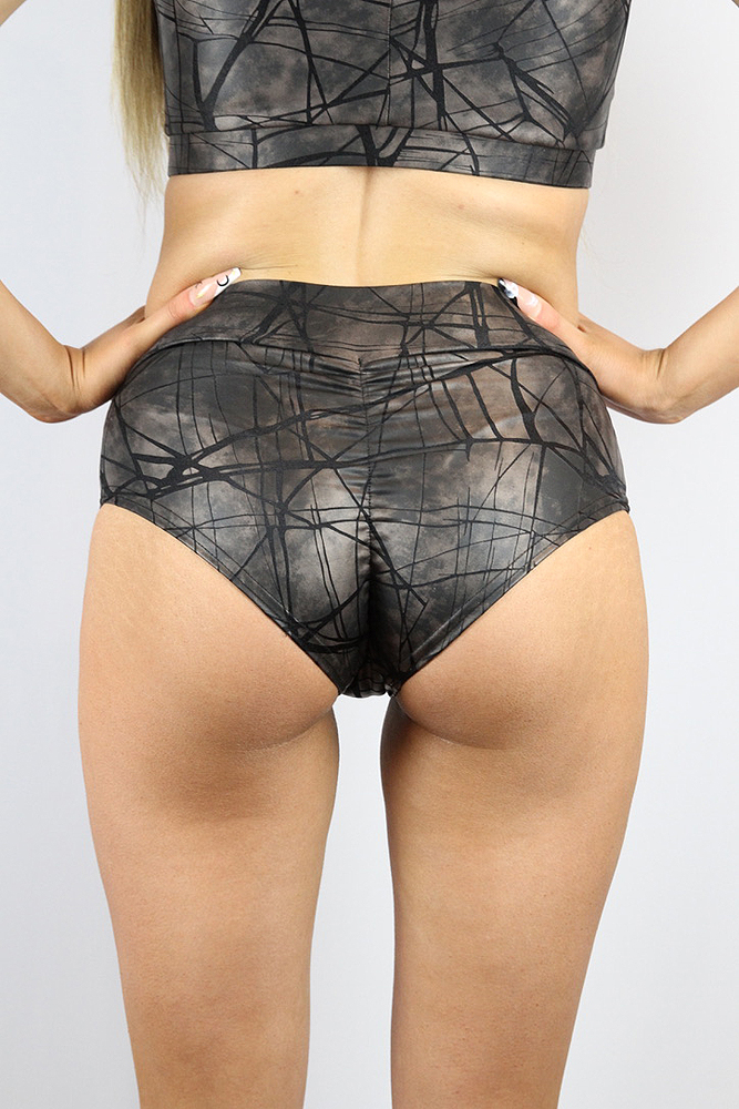 Rarr designs Metallica High Waisted Brazil Scrunchie bum Shorts Nero