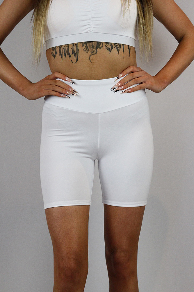 Rarr designs Matte White Bike Short