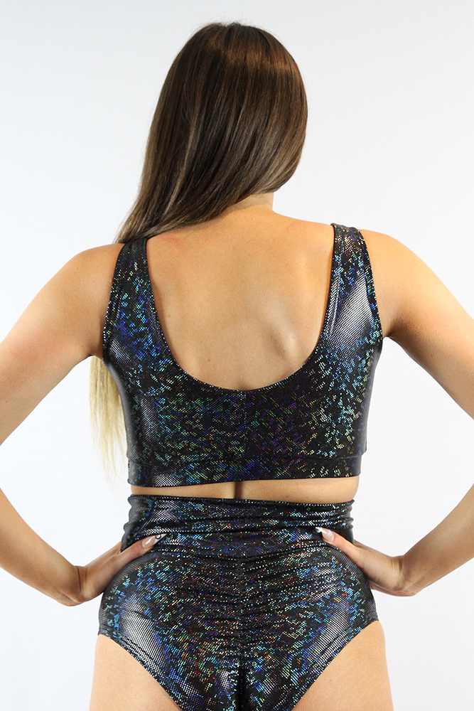 Rarr designs Black Shattered Sweet Scoop Sports Bra