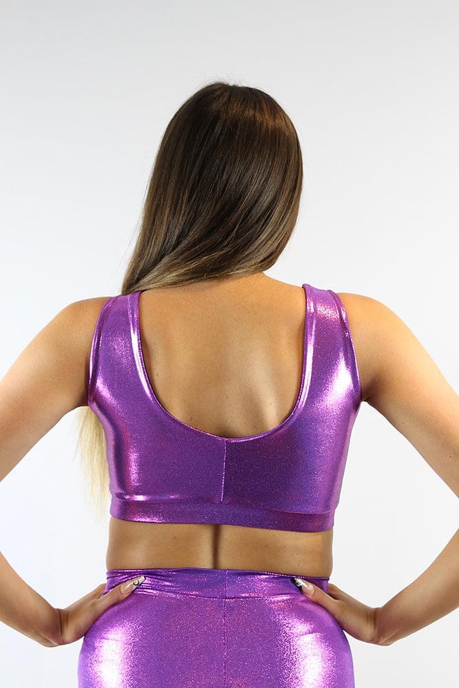 Rarr designs Purple Sparkle Sweet Scoop Sports Bra