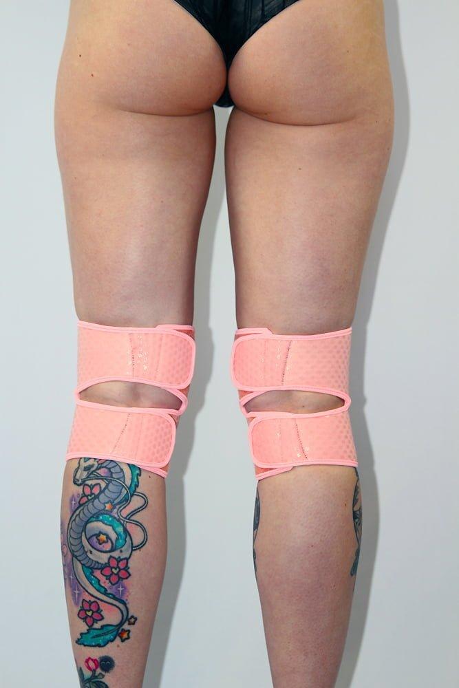 Rarr Designs Velcro Neoprene Gel Dot Grip Knee Pads Black Baby Pink