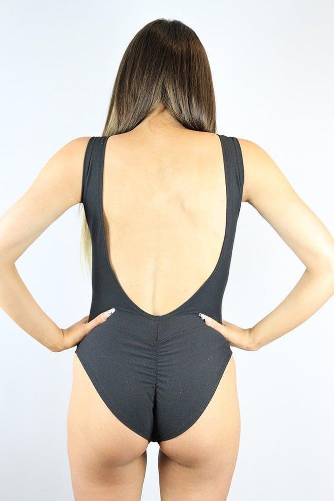 Rarr designs Matte Black One Piece Leotard Bodysuit