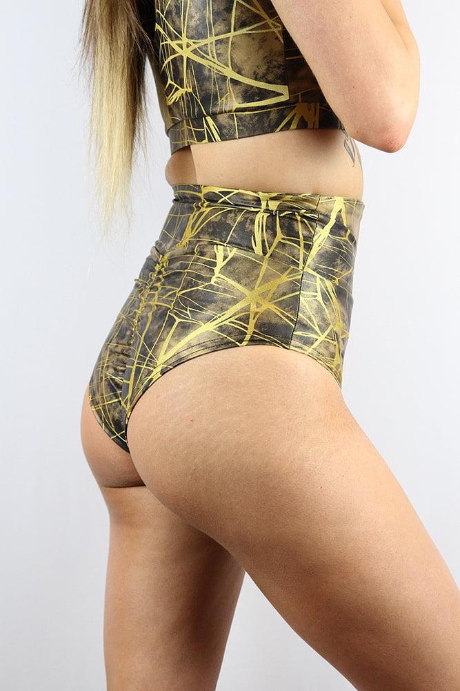 Rarr designs Metallica SUPER High Waisted BRAZIL Scrunchie Bum Shorts Honey