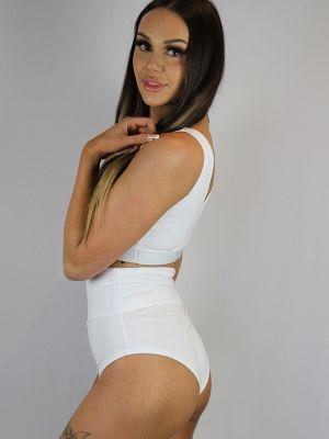 Rarr designs Matte White SUPER High Waisted BRAZIL Scrunchie Bum Shorts