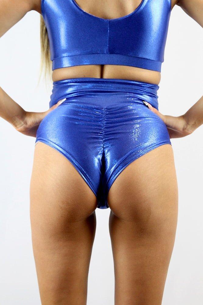 Rarr designs Royal Blue Sparkle SUPER High Waisted BRAZIL Scrunchie Bum Shorts