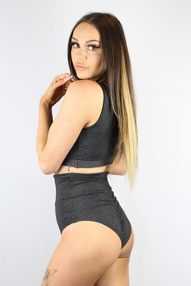Rarr designs Dark Grey Marle SUPER High Waisted BRAZIL Scrunchie Bum Shorts