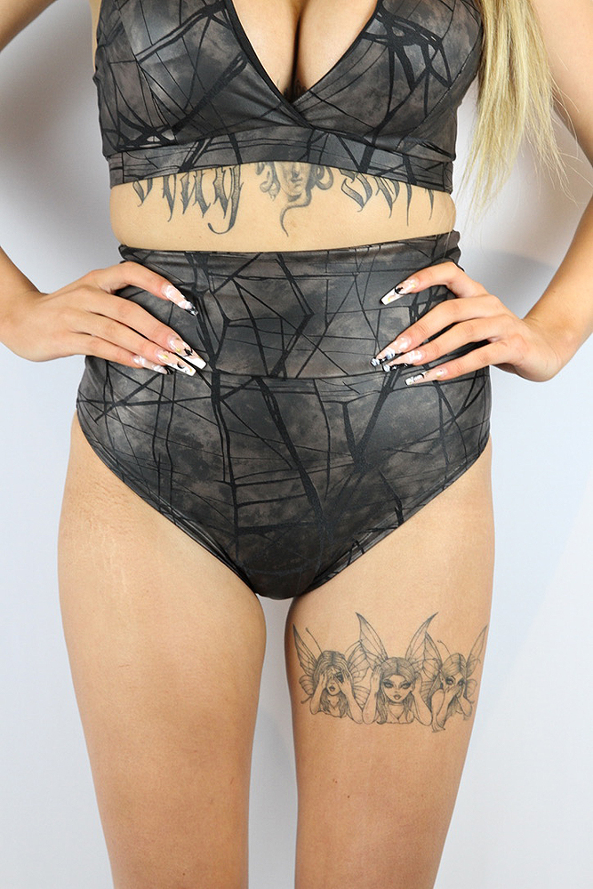 Rarr designs Metallica SUPER High Waisted BRAZIL Scrunchie Bum Shorts Nero