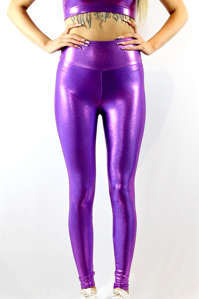 Rarr Designs Purple Sparkle Full Length Leggings/Tights