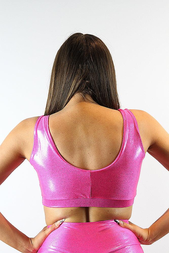 Rarr designs Pink Sparkle Sweet Scoop Sports Bra