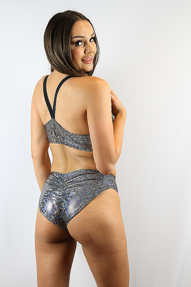 RaRRdesigns Silver Shattered Side Cut Out One Piece Leotard Bodysuit