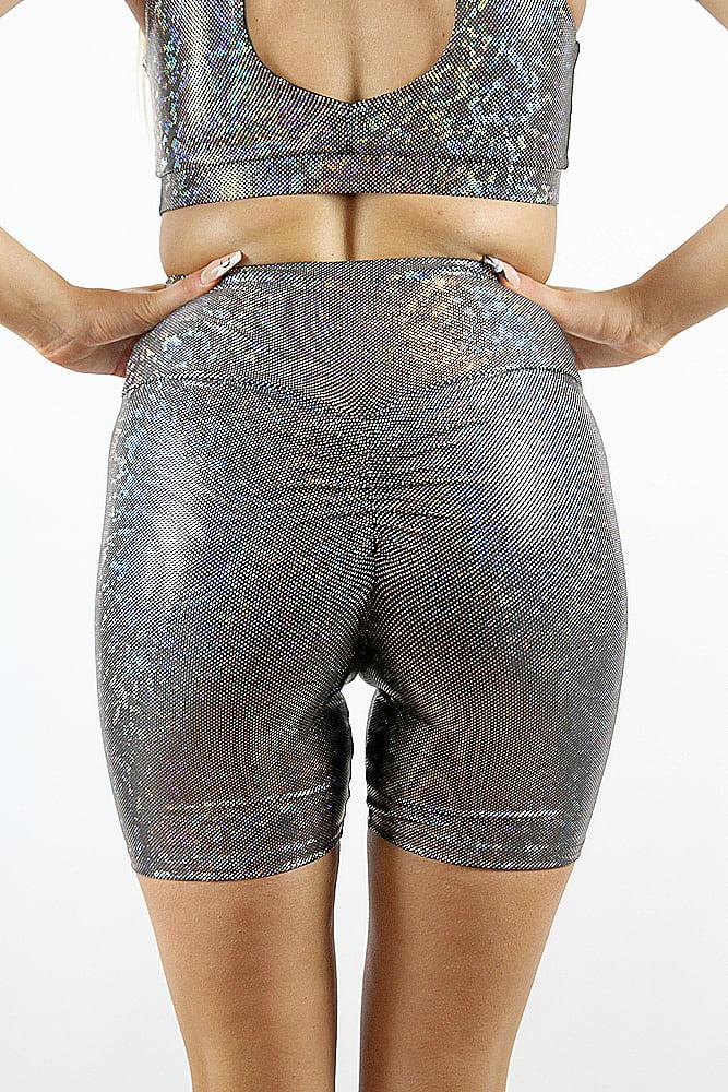 Rarr designs Silver Shattered Bike Short