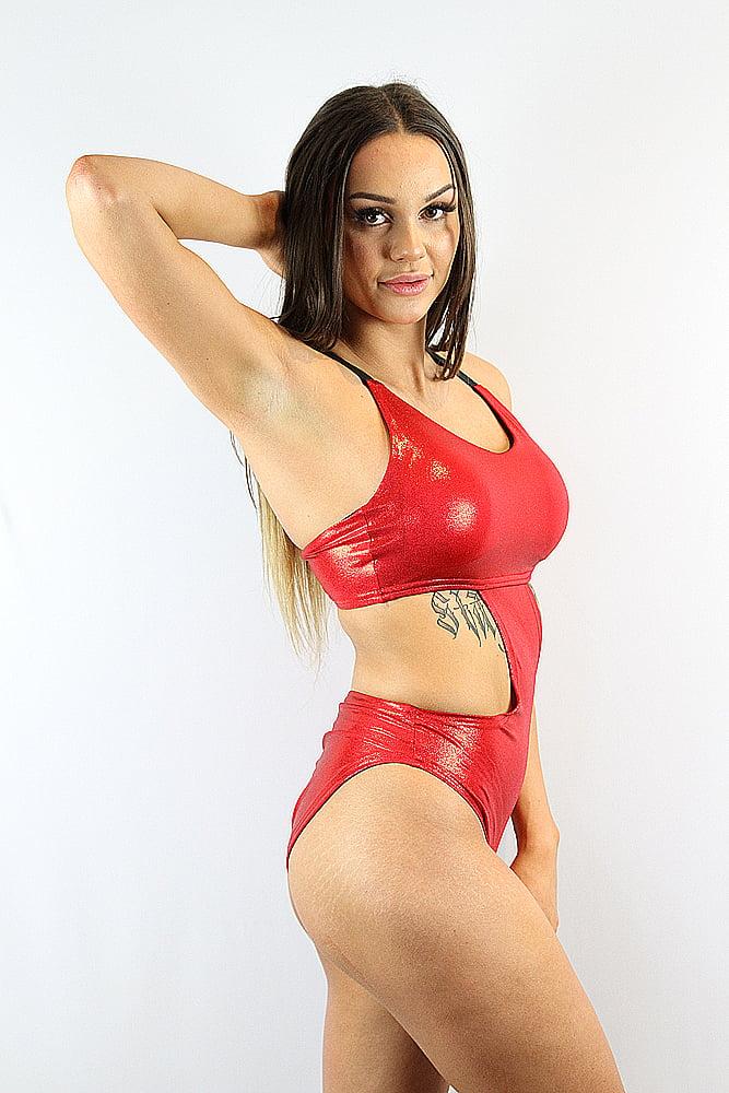 Rarr designs Red sparkle Side Cut Out One Piece Leotard Bodysuit