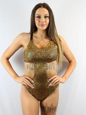 Rarr designs Gold Shattered Side Cut Out One Piece Leotard Bodysuit