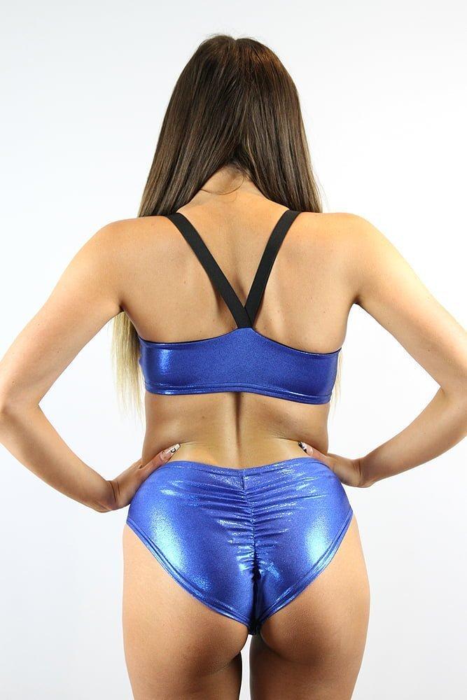 Rarr designs Royal Blue Sparkle Side Cut Out One Piece Leotard Bodysuit