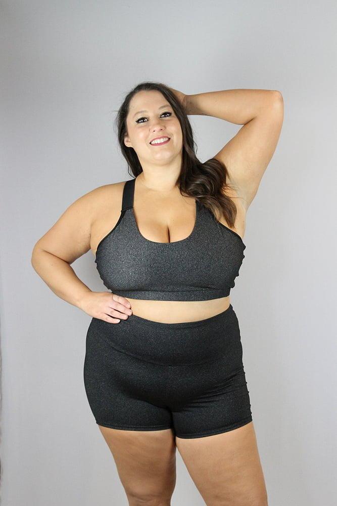 Dark Grey Marle Gym Short - Plus Size