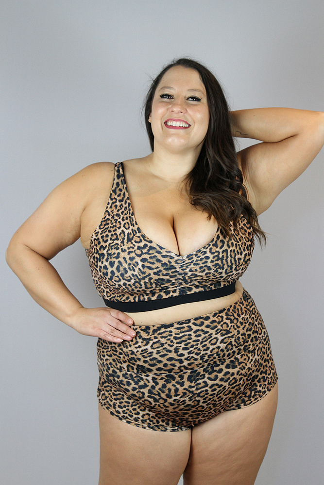 Animal High Waisted BRAZIL Scrunchie Bum Shorts - Plus Size