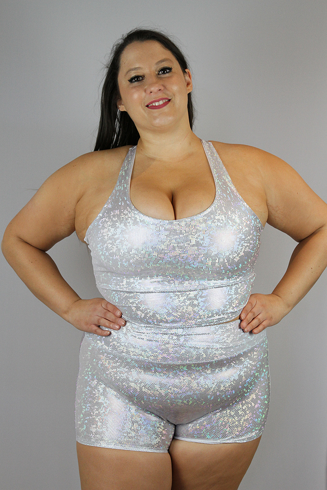 White Sparkle High Waisted Cheeky Shorts - Plus Size
