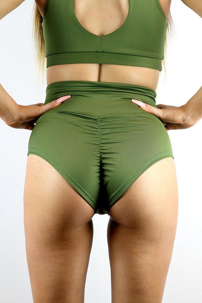 Rarr designs Olive SUPER High Waisted BRAZIL Scrunchie Bum Shorts