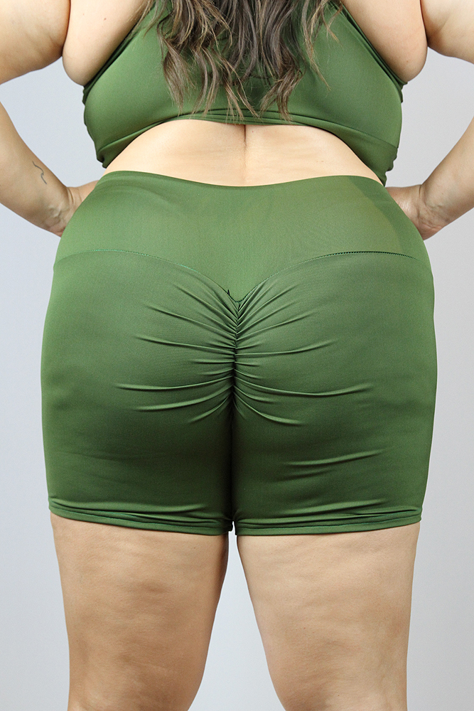 Olive Gym Short - Plus Size