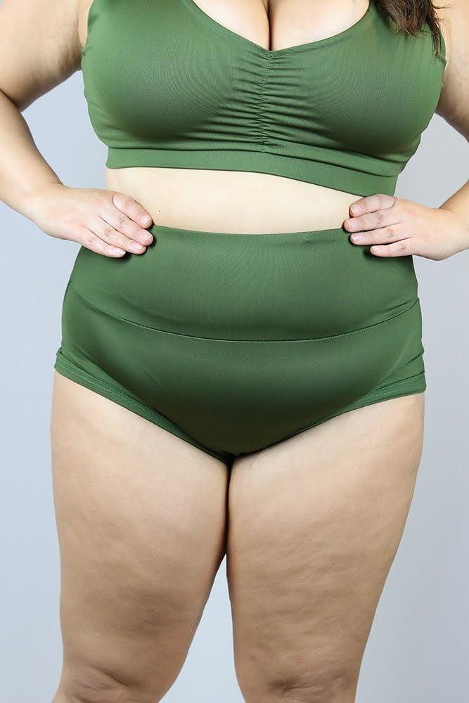 Olive High Waisted BRAZIL Scrunchie Bum Shorts - Plus Size