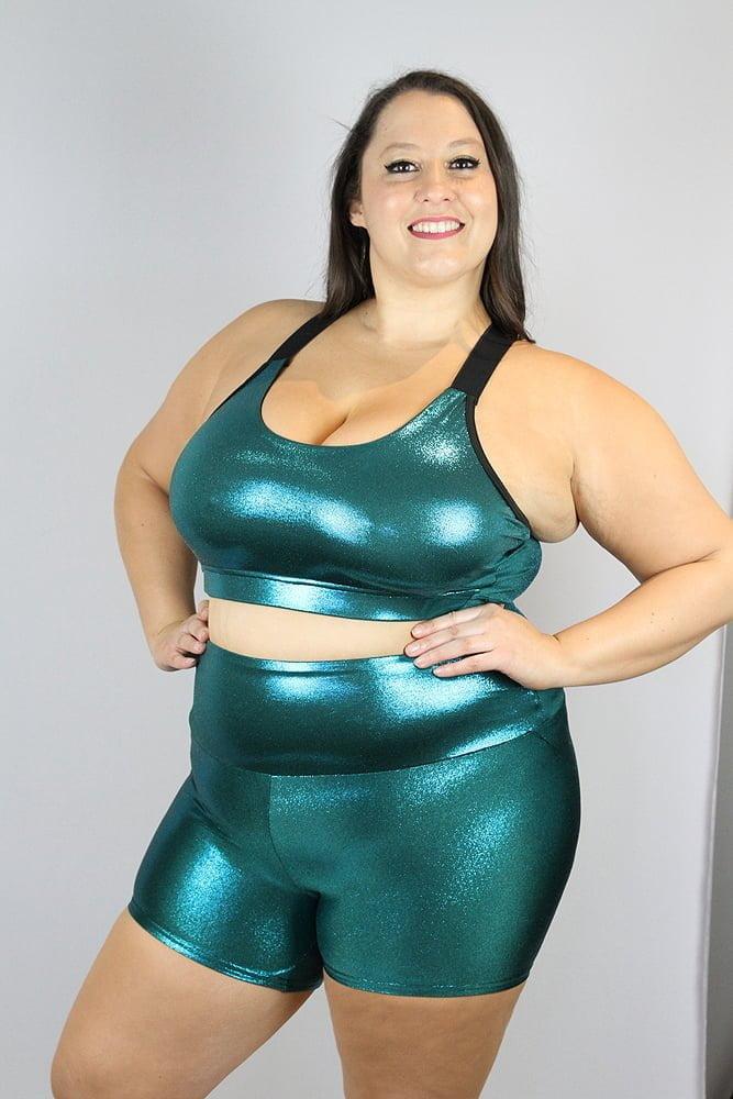 Jade Sparkle Gym Short - Plus Size