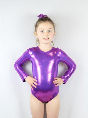 Rarr designs Purple Sparkle Leotard/One Long Sleeve Piece Youth Girls