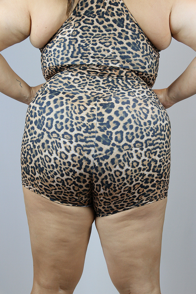 Animal High Waisted Cheeky Shorts - Plus Size