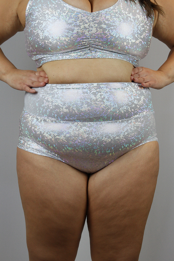White Sparkle High Waisted BRAZIL Scrunchie Bum Shorts - Plus Size