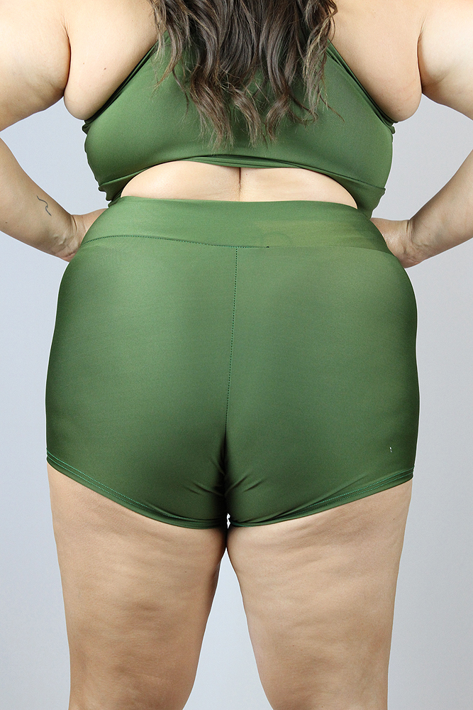 Olive High Waisted Cheeky Shorts - Plus Size